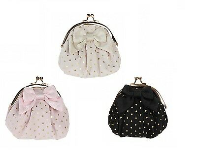 Gigi Bow Coin Clip / Clasp Purse with Dots by Bombay Duck - Pink / Black / Ivory