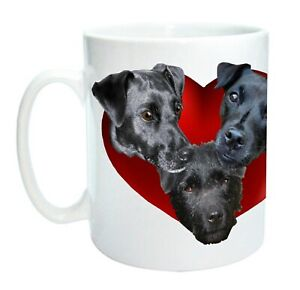 Patterdale Terrier Mug, Dog Mugs, 3 Patterdales in a Red Heart, Mothers Day Gift