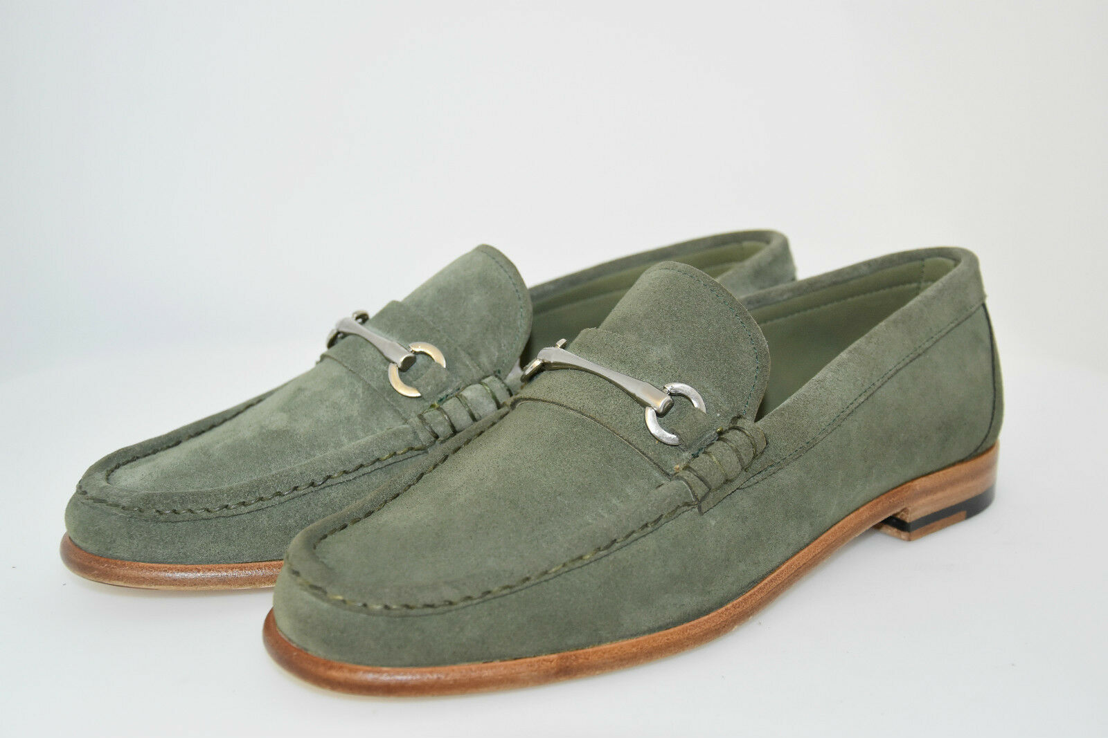 MAN HORSEBIT LOAFER-MOCASSINO-GREEN SUEDE-CAMOSCIO green-LEATHER SOLE