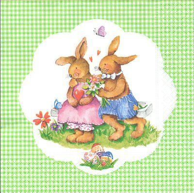 2 serviettes en papier Pâques Lapin Printemps Paper Napkins Easter Spring Fever