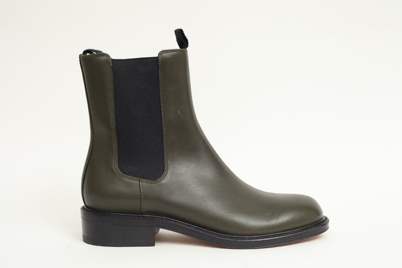 CELINE Damens Dark Grün Olive Grün Dark  Leder Niedrig-Heel Ankle Boot Bootie 7-37 NEW 7a48ee