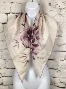 Vintage-Scarf-Gorgeous-White-Scarf-with-Purple-Floral-Design-31X31-034