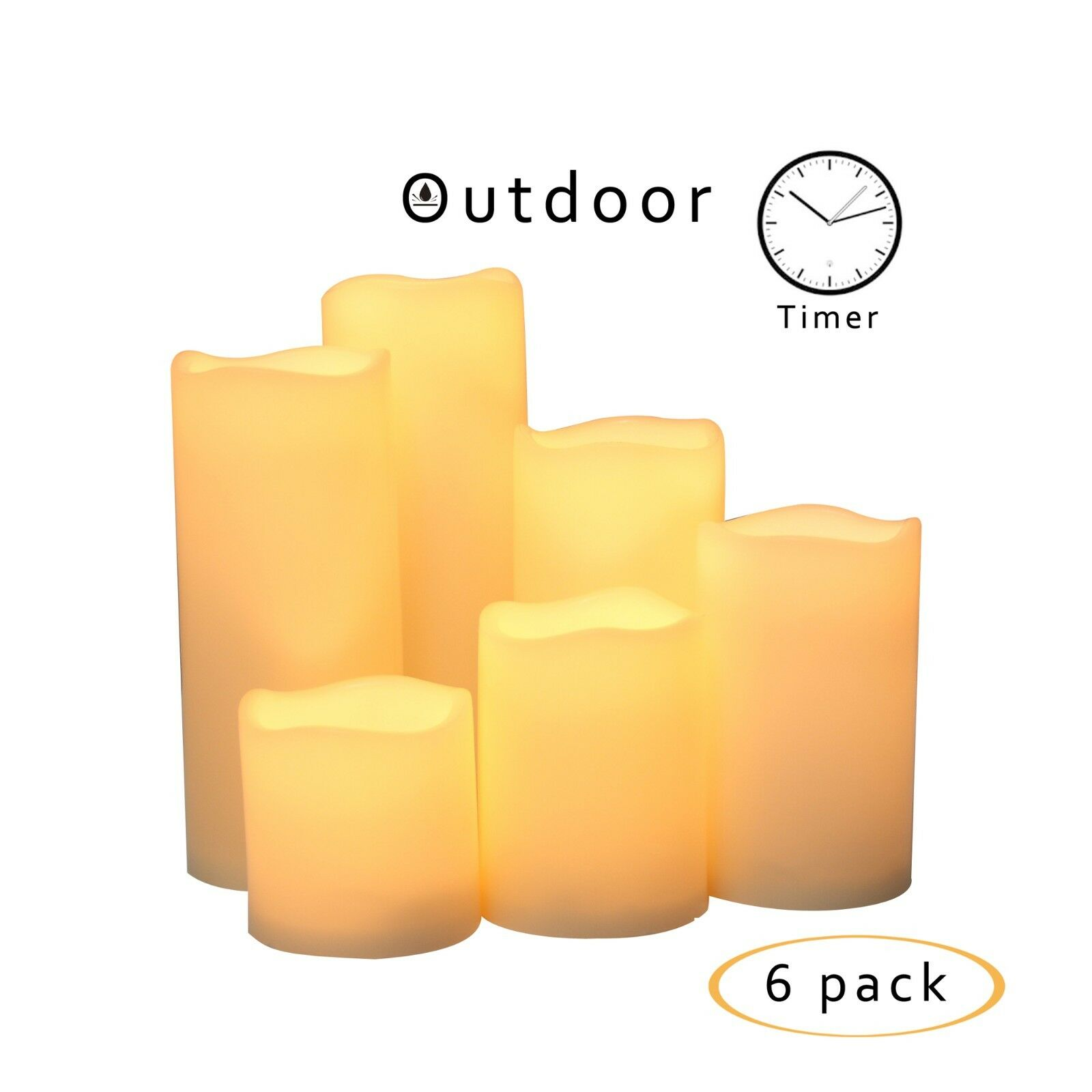 6PCS Waterproof Outdoor Flameless Battery Operated LED Pillar Candles with Timer