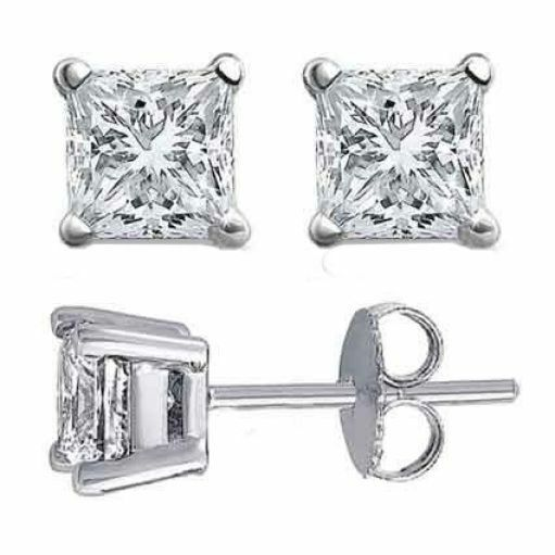 14k White Gold Square Princess Cut Solitaire Diamond Earrings 1 4 Ct Ebay