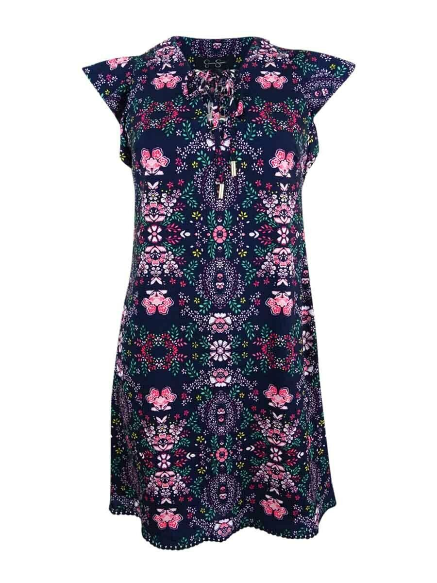 Jessica Simpson Women's Floral Lace-Up Flutter-Sleeve Dress