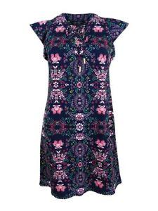 Jessica-Simpson-Women-039-s-Floral-Lace-Up-Flutter-Sleeve-Dress