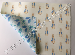 NEW  PETER RABBIT DOUBLE SIDED FLORAL  PRINTED FABRIC SHEET.HAIR BOWS EXCLUSIVE