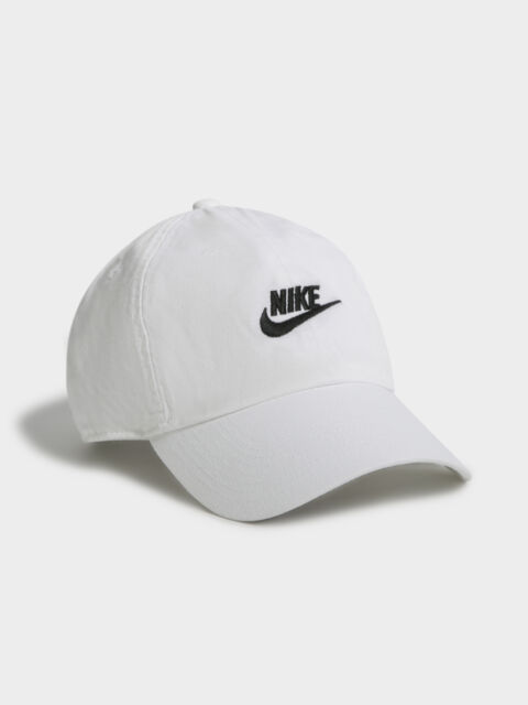 New Nike Mens Heritage 86 Futura Cap In Washed White Hats Caps & Beanies