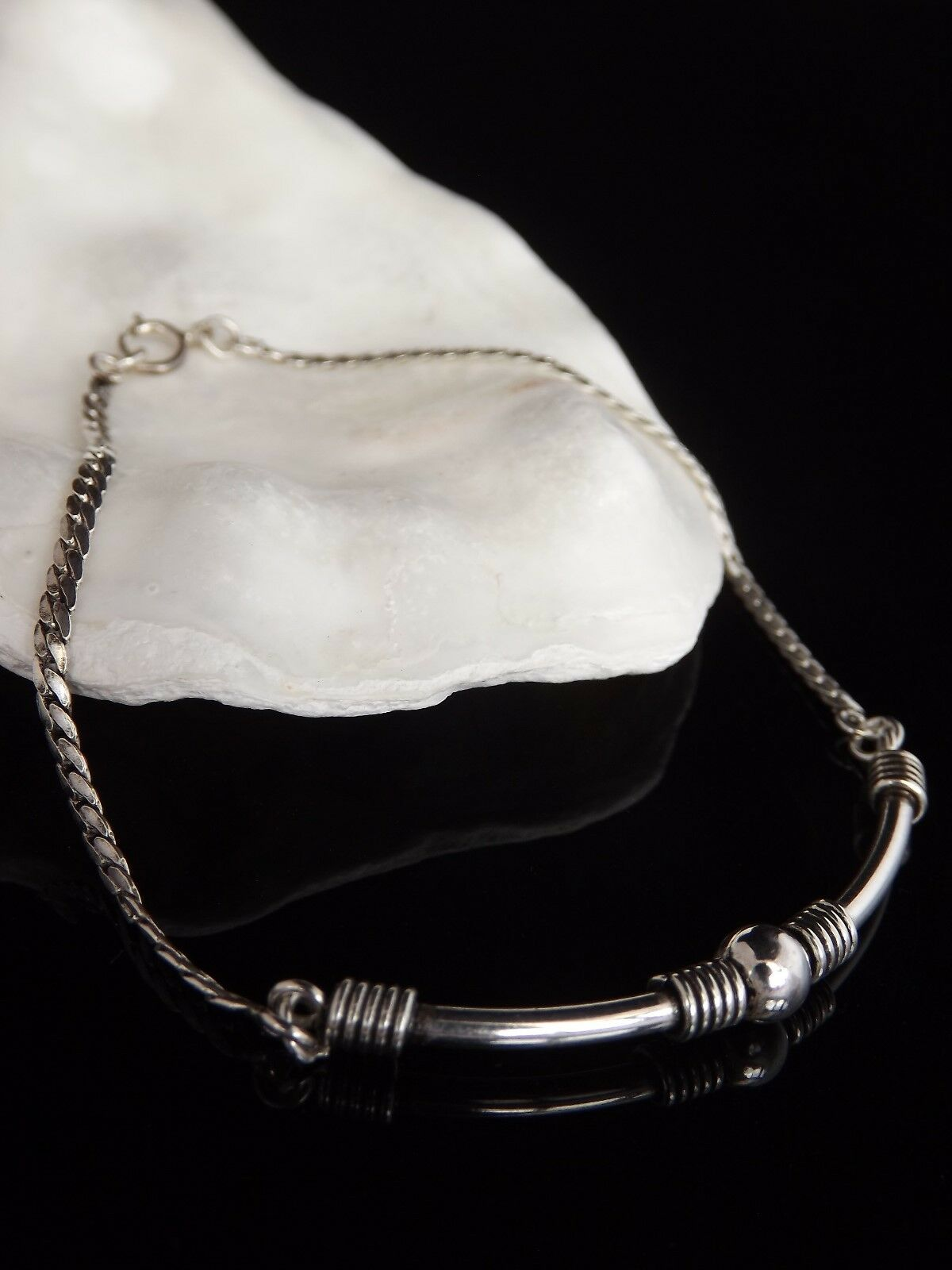 argentoo Sterling Sterling Sterling 925 gioielli donna BAR cordolo catena Link 8  Balinese Bracciale 36dfca
