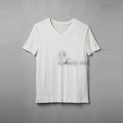 Mens 100% Silk Knitted T-Shirts V-neck Shirts Casual-Tee Top  M L XL 2XL