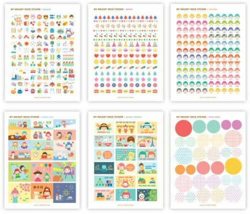 #07 my melody deco cute pvc stickers notebook diary cartoon deco 6 sheets//set