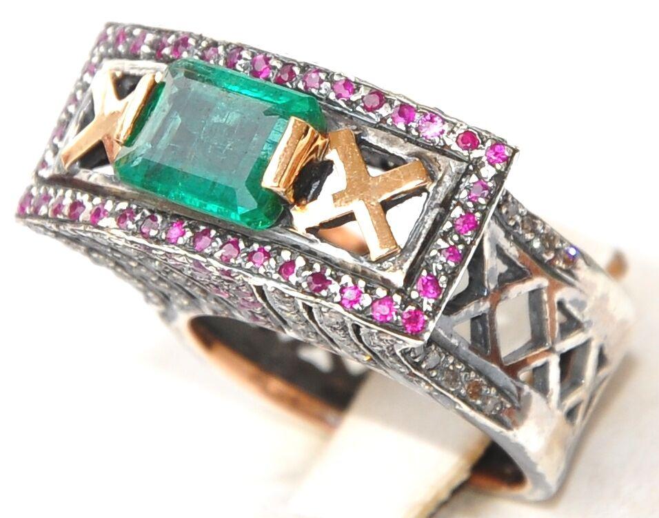 14KT ART DECO AAA TOP CLASS COLUMBIAN EMERALD DIAMOND RUBY RING
