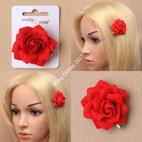 Petit 4 cm en tissu rouge fleur rose sur ressorts Bec Barrette À Cheveux Adhérence Mariage Bal Neuf