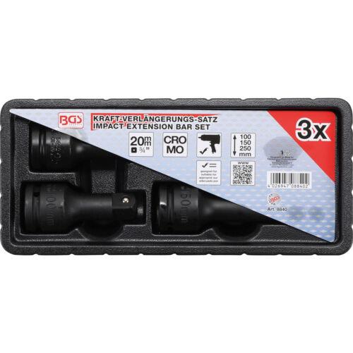 BGS 3//4 Zoll Kraft Verlängerung Satz 100 150 250 mm Nuss Knarrenverlängerung