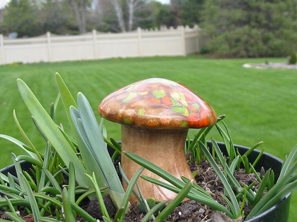 Vtg 1979 Ceramic MCM Mushroom Self Watering Potted Plant Decorative Water Spike