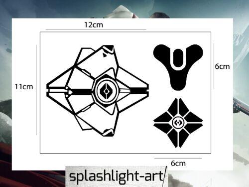 3x Destiny 2 fantasma dinklebot Pegatina Calcomanía Vinilo Negro para Teléfono y o portátil