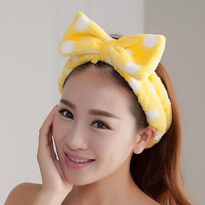 Cute Yellow Big Bow Dot Soft Towel Hair Band Wrap Headbands For Bath Spa Make Up
