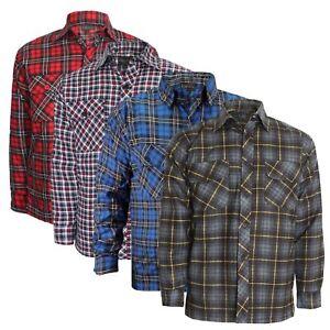 Camisas-De-Vestir-Para-Hombre-Franela-Algodon-Manga-Larga-Lumberjack-de-comprobacion-de-Trabajo