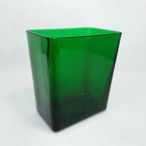 Vintage Napco Planter Vase Emerald Green Glass Rectangular 1166 Cleveland OH USA
