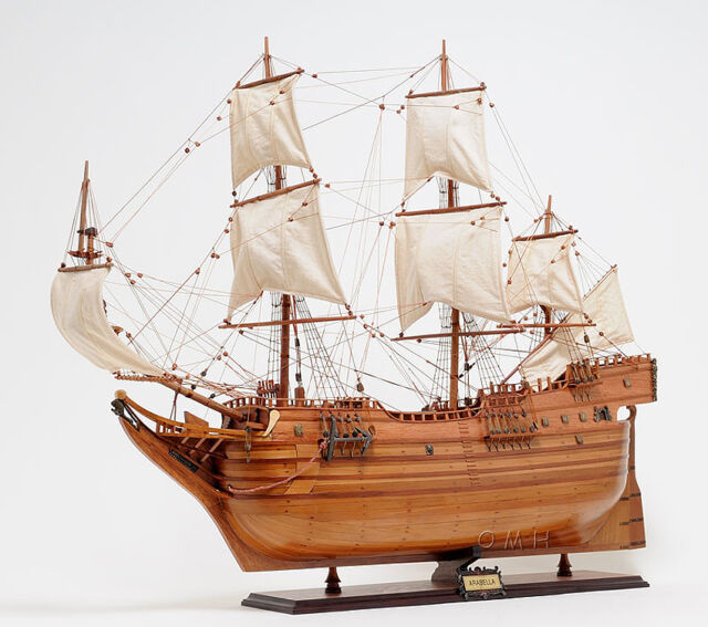 "Arabella Wooden Tall Ship Model 36"" Arbella Winthrop Fleet Vessel New"