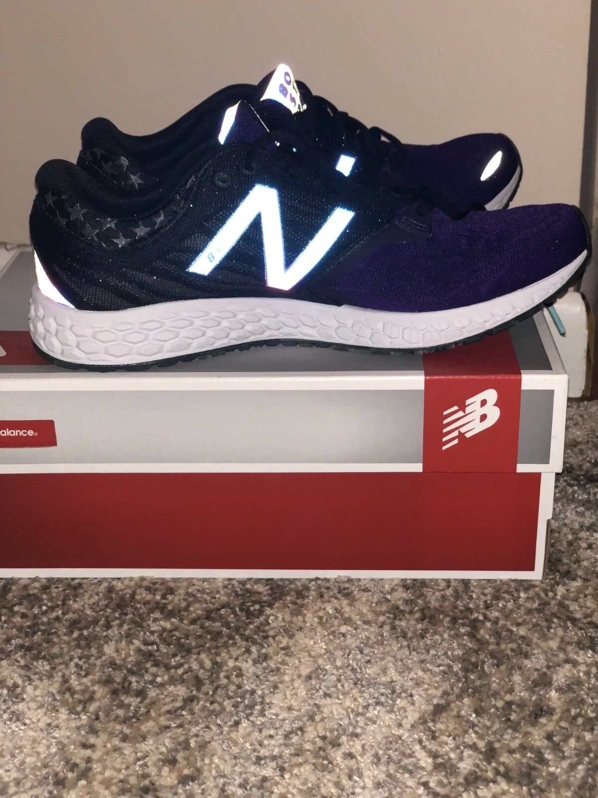 NIB NEW BALANCE FRESH FOAM ZANTE V3 RUN BOSTON 2017 PURPLE RUNNING SHOES 11.5
