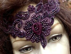 Designer-Glass-Beads-Organza-Flower-COLLAR-3-5x10-034-EGGPLANT-1pc-Sequins-Soutache