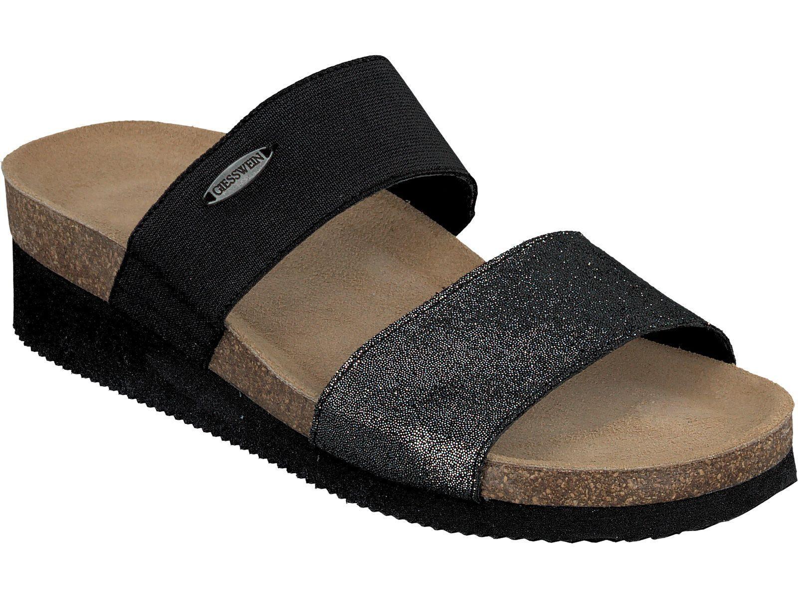 Giesswein rreno zapatillas 38 - 42 corcho cuero auténtico zapatillas sandalias negro