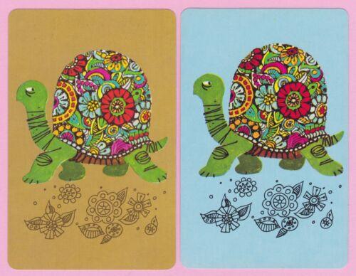2 Single VINTAGE Swap//Playing Cards RETRO REPTILE ANIMAL TORTOISE FLOWERY SHELL