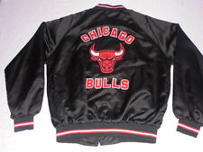 Vintage Chicago BULLS Black Satin Jacket XL Large jersey Jordan pippen starter