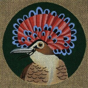 Needlepoint-Handpainted-Dede-Coaster-Bird-Northern-Royal-Flycatcher-5-5-034