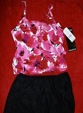 Miraclesuit Skirted Tankini Set Pink Print/Black Skirt Sz 18W Retail $150