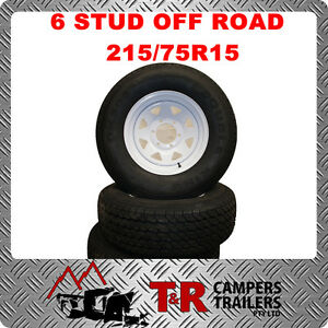 OFF-ROAD-CAMPER-TRAILER-CARAVAN-15-7-WHITE-6-STUD-WHEEL-WITH-215-75R15-TYRE