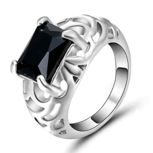 Size 6 Black Sapphire Crystal Ring Women/'s 10KT White Gold Filled Wedding Band