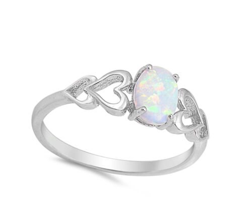 White Lab Opal Oval Heart Cutout Promise Ring .925 Sterling Silver Sizes 4-12