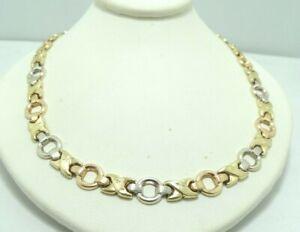 14K-Tri-Color-Gold-Dia-Cut-Brushed-X-039-s-amp-O-039-s-Link-Necklace-17-034-13-6g-D8820