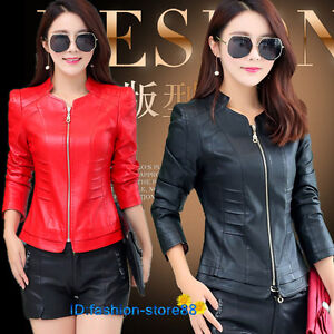 Details about New Hot Women fashion Slim short leather motorcycle jacket coat outwear