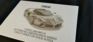 Auto Bank 5 Dollars Uncut Sheet of 4 bills FERRARI car banknote / folder