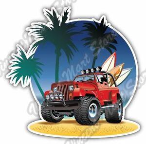 jeep suv surfing tropical island paradise car bumper vinyl