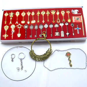 New-Fairy-Tail-30pcs-of-keys-set-Lucy-heart-keychain-Necklace-Pendant-Cosplay