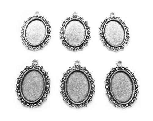 6 Antiqued Silvertone LEILANI style 25mm x 18mm CAMEO PENDANTS Frames Settings