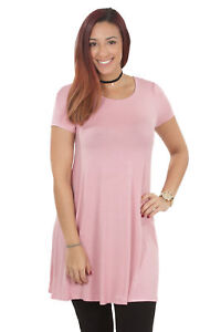 RS1043-Women-039-s-Short-Sleeve-Flare-Hem-Loose-Fit-Round-Neck-Dress-Tunic-Top