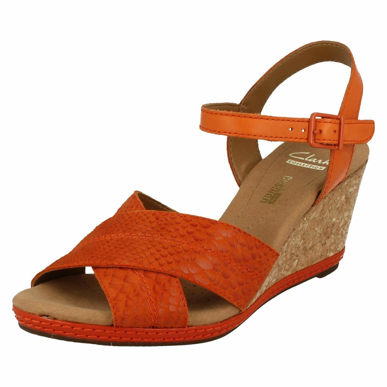 Damen Clarks orange Leder Keil Sandale- UK 6- EU 39.5d