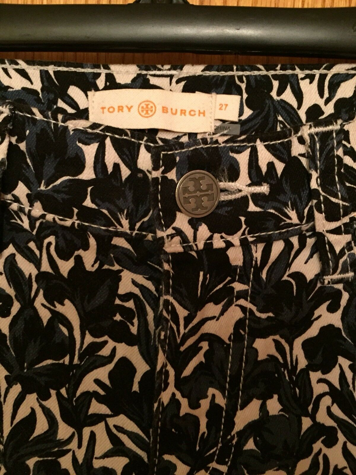 WOMEN'S TORY BURCH CROPPED FLORAL PANTS SZ 27 Euc