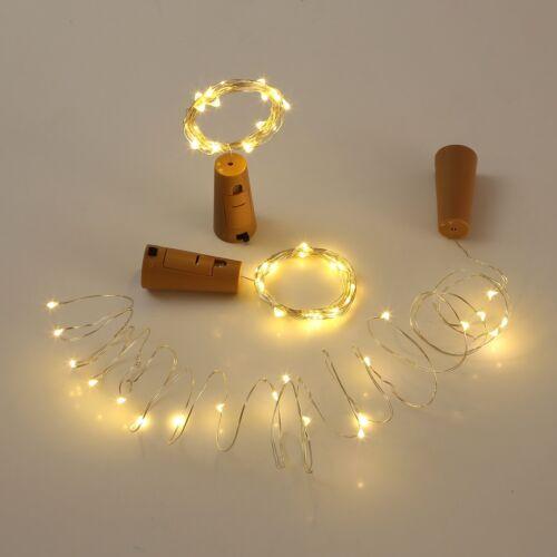 6x 20 LED Lichterkette Draht LED warmweiß Beleuchtung Flasche Korken Kork