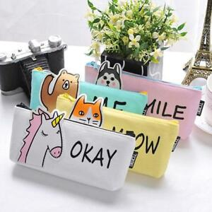 62f19ebd6b13 Details about Canvas Cool Zip Animal Student Pencil Pen Case Pouch Cosmetic  Purse Holder Bag S