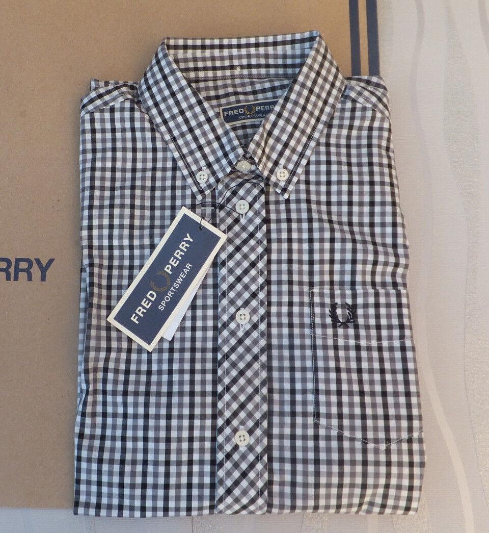Fred Perry Ladies REISSUES Button Down Gingam Woven Shirt Blak BNWT RP