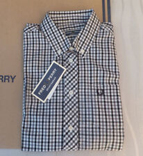 2cde3ec2 Fred Perry Ladies REISSUES Button Down Gingam Woven Shirt Blak uk 10 BNWT  RP £89