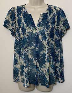 Joie Small Blouse Beige & Blue SILK Short Sleeve Relaxed Fit V-Neck Top