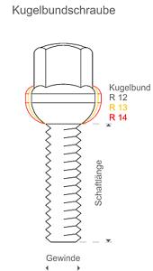 20 tornillos m12x1,5x32 bala perno de rueda federal radio de esfera 12 SW 17 envío DHL