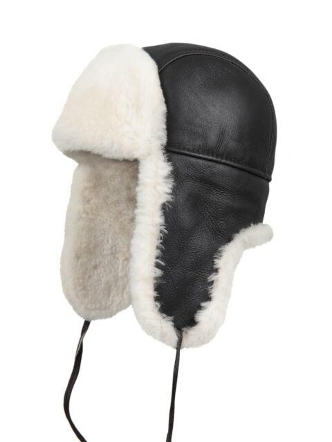 a150729ff Aviator Bomber Trapper Ushanka Leather Shearling Sheepskin Fur Hat -  Brown-Beige